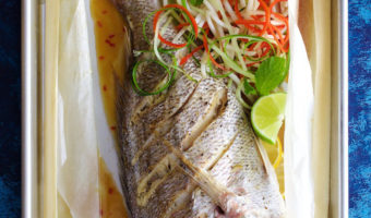 Whole Baked Fresh Fish and Summer Salad