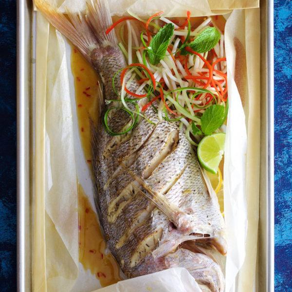Whole Baked Fresh Fish and Summer Salad