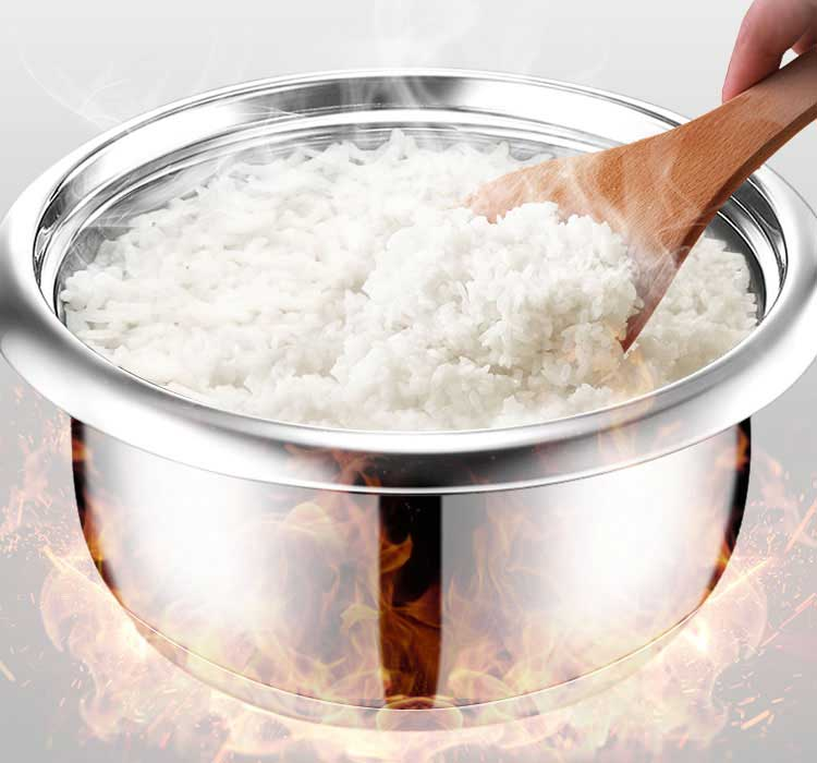 Cooking rice with Stainless Steel rice pot