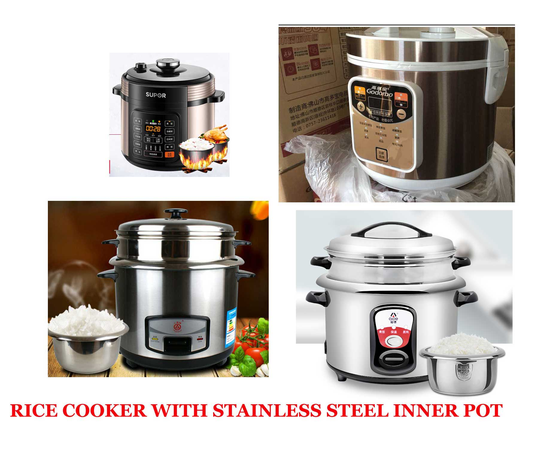 Rice Cooker With Stainless Steel Inner Pot