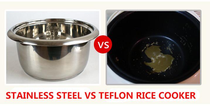 stainless steel VS teflon rice cooker