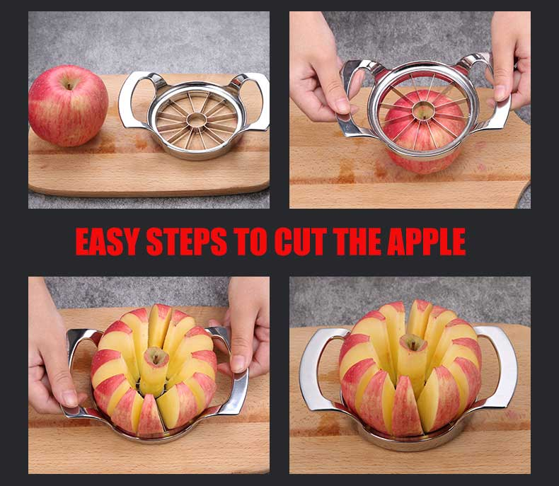 Easy steps to cut the apple