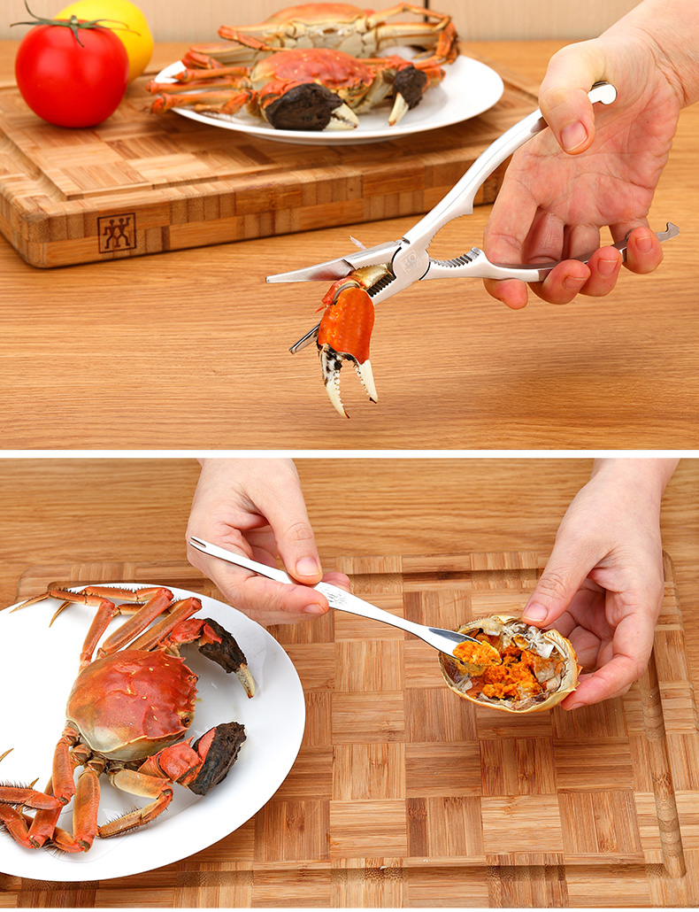use the tool to crack the crab