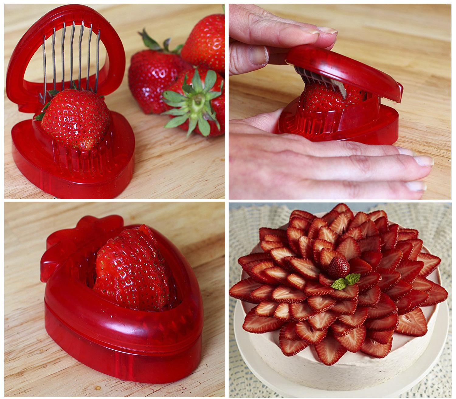 Ues the tool to slice Strawberry