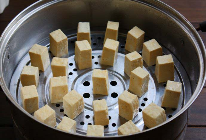 Fermented Tofu in the steamer