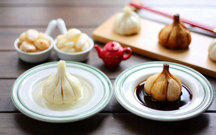 Two types of Sweet Pickled Garlic
