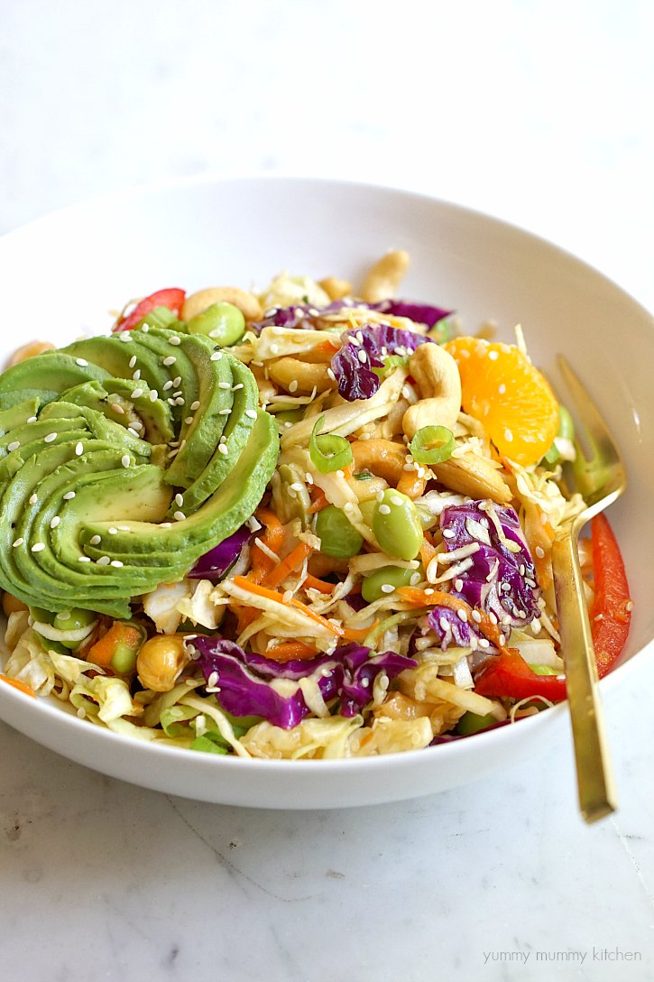 Asian salad with ginger sesame dressing