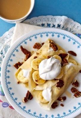 Banana coconut cream crepes