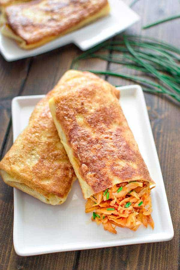 Cabbage filled crepes