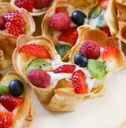 Fruit Filled Lemon Crepe Cups with Coconut Whipped Cream