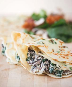 Green Onion Parmesan Crepes with Ricotta Spinach Bacon Mushroom Filling