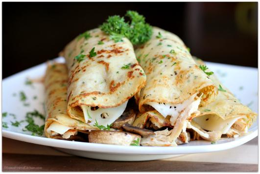 Savory crepes with turkey mushroom and Swiss cheese
