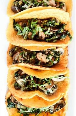 Vegan Crêpe Tacos with Warm Spinach Mushroom Filling