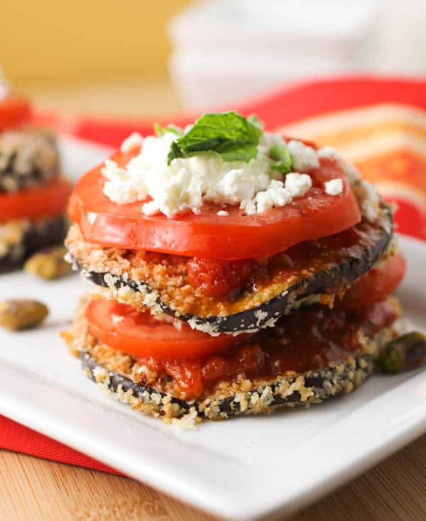 Baked Eggplant with Pistachio Pesto and Goat Cheese