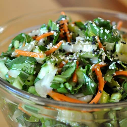 Bok Choy and Carrot Slaw in a Tangy Sesame Soy Vinaigrette