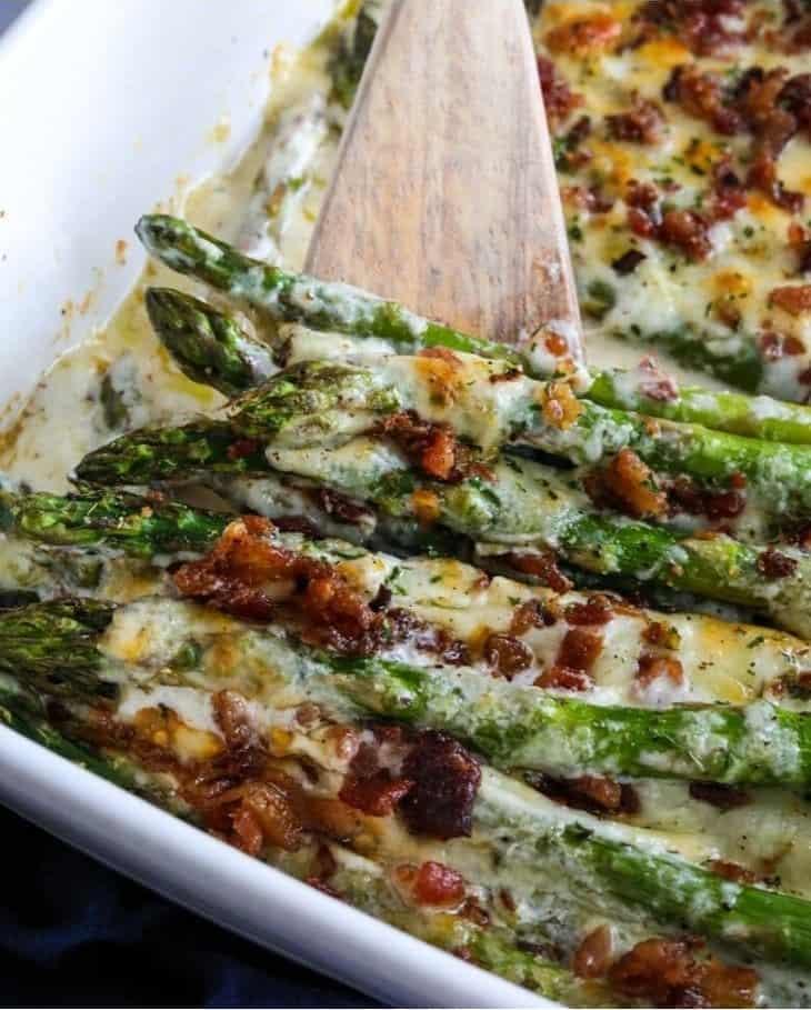 Cheesy asparagus casserole keto recipe