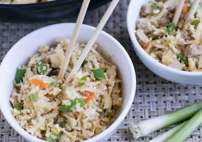 Chinese cauliflower pork fried rice recipe