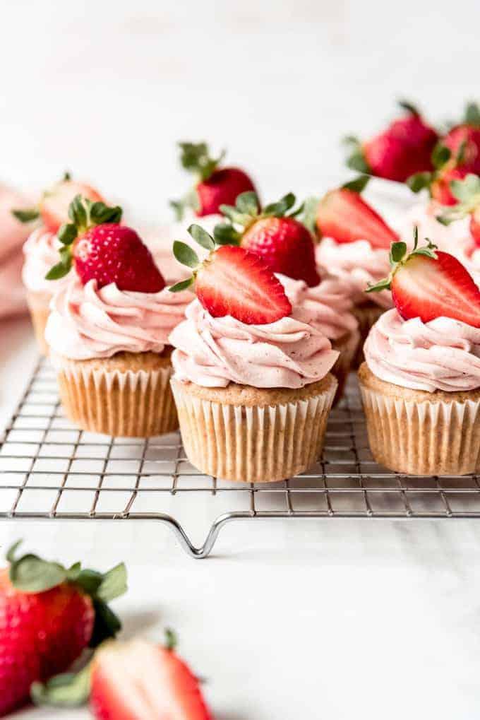 Fresh strawberry cap cakes