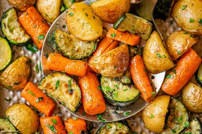 Garlic Herb Roasted Potatoes Carrots and Zucchini