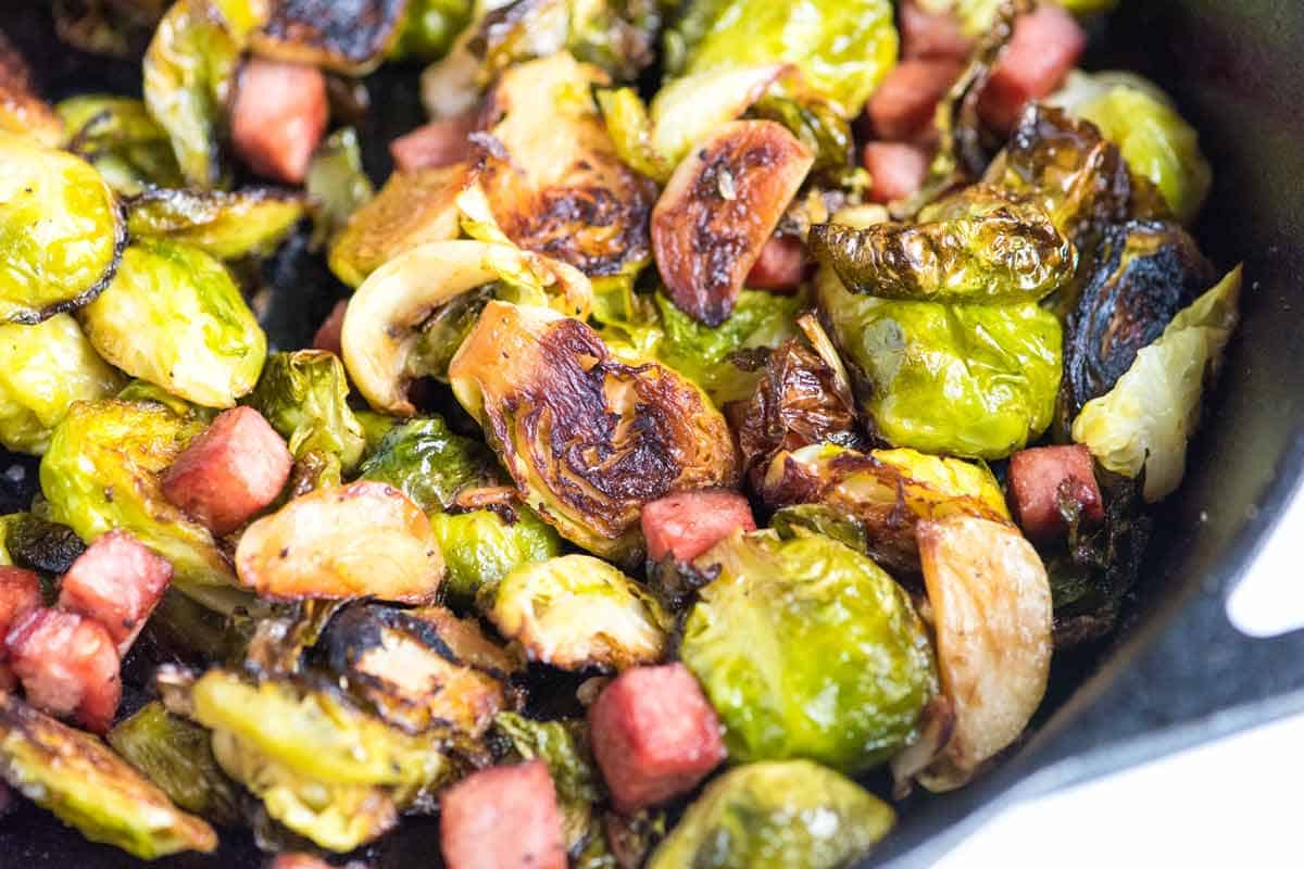 Garlic roast Brussel sprouts with ham