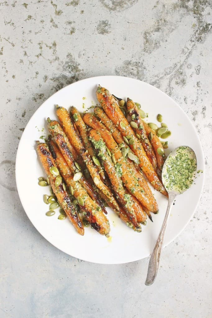 Grilled Carrots with Lemony Dill Pesto