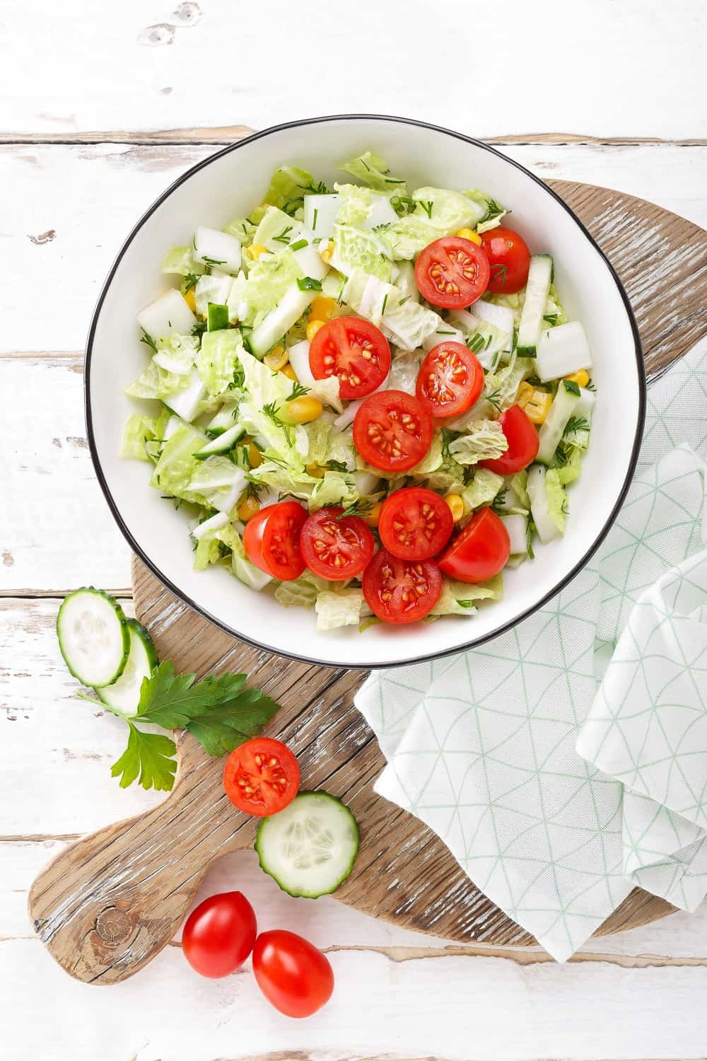 Healthy vegetable salad with chinese cabbage
