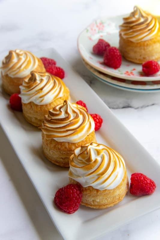 Lemon raspberry Meringue Miniatures tarts