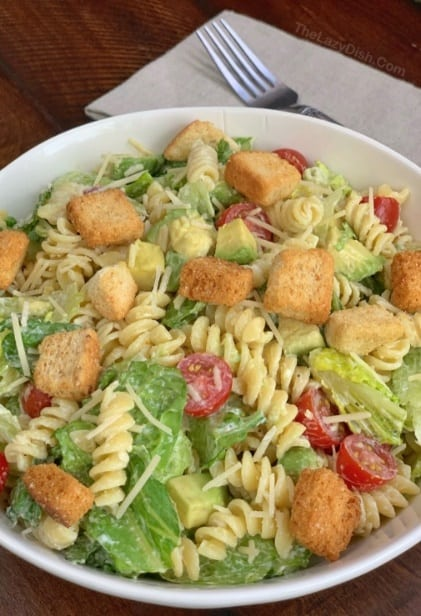 Pasta Avocado Caesar Salad