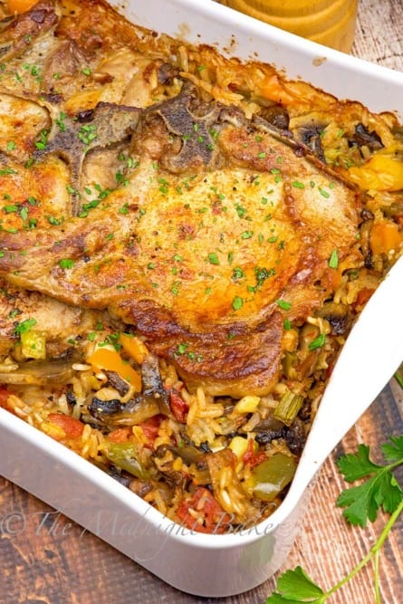 Pork chops and vegetable rice