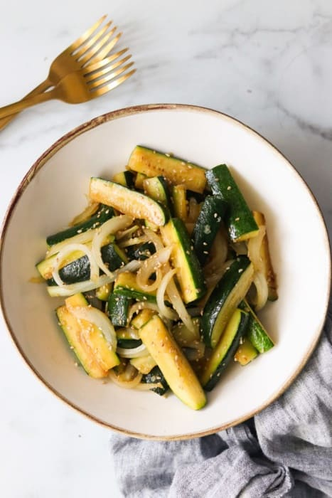 Sautéed Asian Zucchini and Onions Paleo Whole30 Low Carb AIP Option