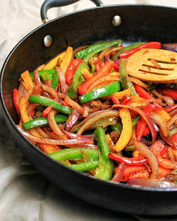 Sautéed bell peppers and onions