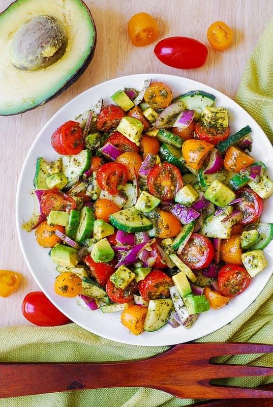 Tomato Cucumber Avocado Salad with Basil Pesto