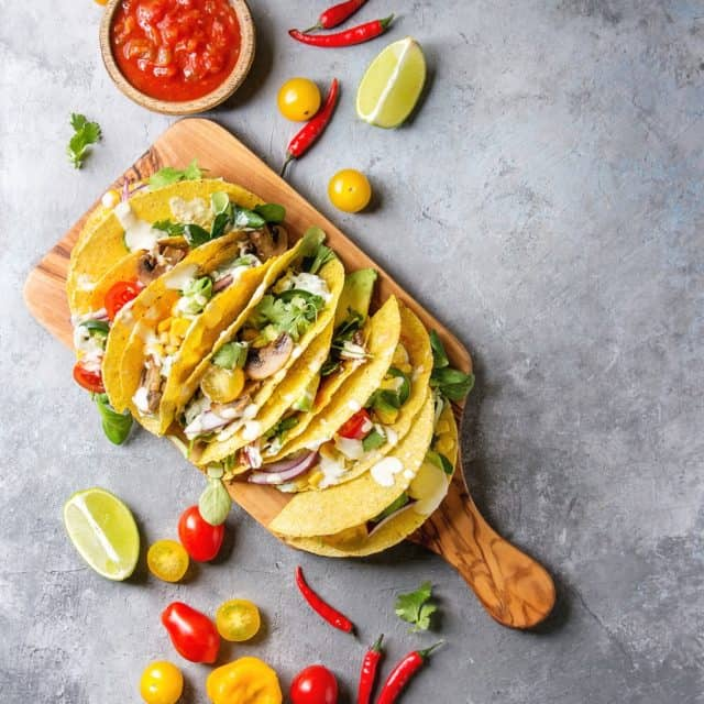 tacos with vegetables green salad